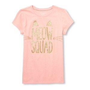 NWT Children's Place Pink/Gold Cat Shirt M(7-8)